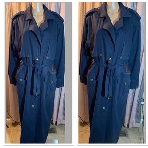 Vintage Together Trench Coat Size 16 Blue Belted